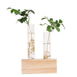 $enCountryForm.capitalKeyWord Australia - Crystal Glass Test Tube Vase Flowers Plants Hydroponic Planter+ Wooden Stand Decorated With A Flower Home Decor