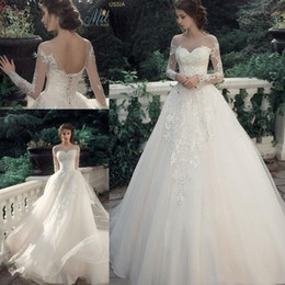 d3fea35564 Designer Ivory Puffy Princess Wedding Dresses New 2019 Sheer Neck Illusion  Long Sleeves Lace Applique Country Garden Corset Bridal Gowns