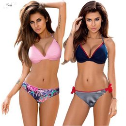 push up bikini top s Australia - 2019 Bikinis New Sexy Bandage Push Up Swimsuit Women Swimwear Halter Top Brazilian Bikini Set Bathing Beach Suits S~2Xl