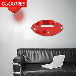 cartoon decals NZ - Decorate Home 3D mouth lip cartoon mirror art wall sticker decoration Decals mural painting Removable Decor Wallpaper G-367