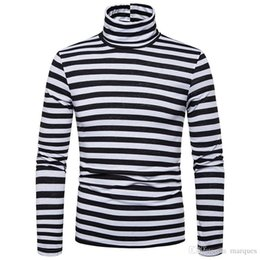 men stripe long sleeve tee NZ - Stripe Panelled Mens Designer Long Sleeve Tshirts Fashion Slim High Collar Mens Tees Casual Males Clothing