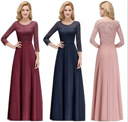 Floor Length Designer Mother Dresses NZ - Vintage Long Sleeves Chiffon Mother of Bride Groom Dresses 2019 Real Photos A Line Crew Neck Appliques Evening Prom Gowns Bridesmaid CPS1071