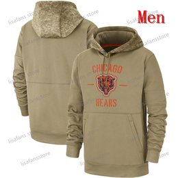 Herren Damen Jugend Chicago Khaki 2019 Salute to Service-Sideline Therma PulloverHoodie Bears Alle Name Zahl Sweater Tan Gedruckt