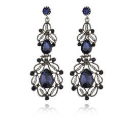 $enCountryForm.capitalKeyWord Australia - Terreau Kathy Vintage 2019 New Long Earring Female Blue Crystal Jewelry Hollow Water Drop Earrings For Women Giift E642