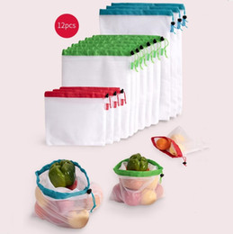 cloth bag stitching NZ - 12pcs lot Reusable Mesh Bags Eco-Friendly Superior Double-Stitched Cloth Drawstring Mesh Shopping Bag for Fruit Food-Shopping Travel Storag