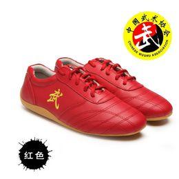male Kungfu martial arts sports Shoes genuine leather cowskin judo big plus size35-47 men women ladies exercise Wushu Taichi Unisex footwear on Sale