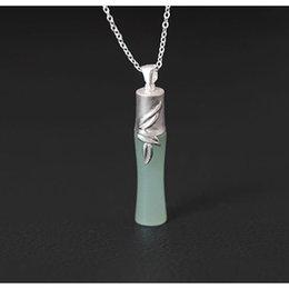 $enCountryForm.capitalKeyWord NZ - Original Design Folk-custom Accessories Pendant Necklace Female 925 Sterling Silver Diy Handmade Bamboo Inlaid Jade Necklace MX190816