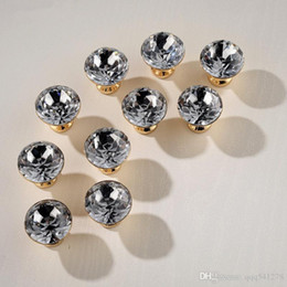 Crystal Pull Cabinet Handles Australia - Super Luxury Gold Czech Crystal Round Cabinet Door Knobs and Handles Furnitures Cupboard Wardrobe Drawer Pull Handle