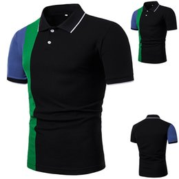 Chinese  Funny Men T Shirt Fashion Men Fit Slim Turn-down Collar Button Patchwork Short Sleeve Top Blouse T Shirts manufacturers