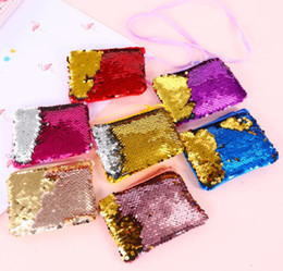 Fashion For Short Girls NZ - New fashion mini coin purse for girl Paillette money wallet  mix colors crossbody coin purse Mini wallet for girl