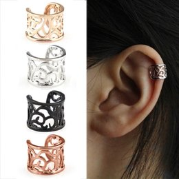 Hollow flower cuff online shopping - 1pc Vintage Antique Ear Cuff Punk Small Flower Hollow Charm Clip Earrings No piercing Clip Hollow Out Statement jewelry
