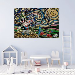 van gogh prints canvas NZ - Alec Monopolies Starry Night Inspired Mimo Van Gogh Telescope Money POP Street Art Canvas Painting Poster Print Picture For Living Room