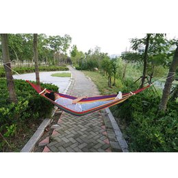 $enCountryForm.capitalKeyWord Australia - Outdoor Canvas Camping Hammock Bend Wood Stick Steady Garden Swing Hanging Chair Hangmat Rainbow Color With Backpack 1 1.5m