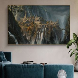Discount lord rings movies Lord Of The Rings Rivendell Fairyland Movie Poster And Prints Painting On Canvas Wall Art Film Picture For Room Decoration