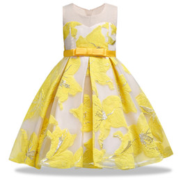 China Summer Girl Stereo Formal Dress High Quality Hot Stamping Elegant Flower Bow Princess Dress Children's Piano Performance Dress J190618 cheap girls piano dress suppliers