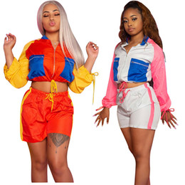 Motorcycle Jackets Oxford Racing Australia - Women Quick Dry Tracksuit Crop Zipper Jacket Coat+ Shorts 2 Piece Outfit Summer Patchwork Long Sleeve Sportswear Sports Jogging Set C41607
