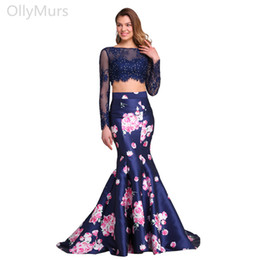 $enCountryForm.capitalKeyWord NZ - Floral Print Two Pieces Prom Dresses Long 2019 Navy Blue Illusion Long Sleeve Lace Applique Beads Formal Evening Dress Party Prom Gowns
