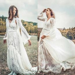 Wedding Dresses Sheer Jacket Australia - Vintage 2019 Summer Lace Long Wedding Dresses With Jacket Appliqued Bohemian Bridal Gowns Plus Size Bohemian Beach Wedding Dresses Cheap