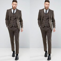 brown check suit NZ - Handsome Men Wedding Pant Suits Brown Slim Fit Notched Lapel Groom Wear Custom Made Formal Tuxedos