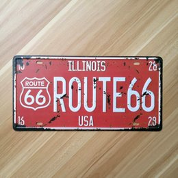 License Plate Europe Australia - Route66 license Plate Metal Painting Vintage Wall Bar Home Art Decoration Cuadros Mix Order 30X15CM