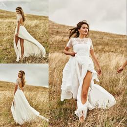 Wedding Dresses Summer Beach Short Bohemian NZ - Graceful Beach Bohemian Wedding Dresses Short Sleeve Lace Side Split Wedding Gowns Summer Vestidos de Novia