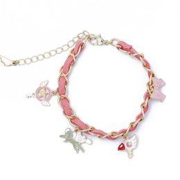 $enCountryForm.capitalKeyWord Australia - 1 Pcs Kawaii Charm Bracelet Cardcaptor Sakura Magic Wand Cuff Wings Heart Love Bracelets Party Favor for Kids Friends Gift