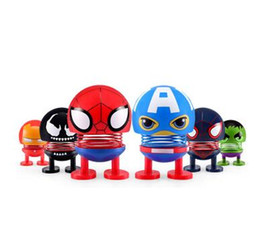 Chinese  Manway series mini-car spring head-shaking doll Avenger Heroes Alliance decoration funny creative toys manufacturers
