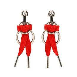 Vente en gros Européen Et Américain De La Mode Bijoux Creative Lacet Boucles D'oreilles Double Anneau Oreille Pendentif Filles En Gros Ruban Oreille Accessoires