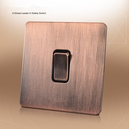 Stainless Steel Push Button Switches Australia - Red bronze color Wall Switch and 1 gang 2 way Stainless steel panel push button switch with light switch