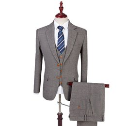 583b6a14 Wool Retro Grey Herringbone Tweed British style custom made Mens suit  tailor slim fit Blazer wedding suits for men 3 piece C18122501