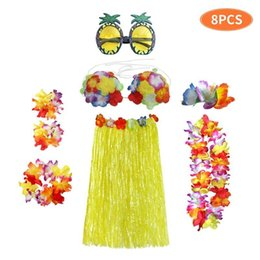 Wholesale hula dresses for sale – plus size Hawaii Hula Dance Dress Piece Set Sandy Beach Dancing Clothes Masquerade Hairpin Glasses Sets Hot Selling ck L1