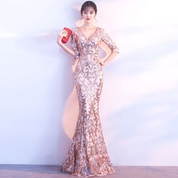 chinese style evening gowns NZ - Gold Sequins Chinese Evening Dress Women Mermaid Cheongsam V-neck Long Party Gown Oriental Style Dresses China New Year Costume