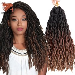 cheap ombre braiding hair Canada - Cheap Curly Dreadlocs 18inch Long Ombre Synthetic Braiding Hair Faux Locs Curly Crochet Hair Extensions Soft Dreads Crochet Braids