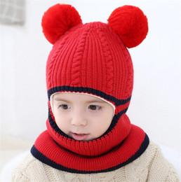 $enCountryForm.capitalKeyWord NZ - Unisex Children Ball Crochet Knitted Caps And Scarf Winter Warm Earflap Suit Set Baby Toddler Warm Kids Cute Pattern Beanies Hat Set