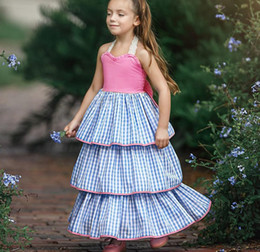 plaid bow dress NZ - 2019 Summer girls plaid cake dress kids lace hollow lace-up Bows backless beach long dress children ruffle dew shoulder princess dress F2999