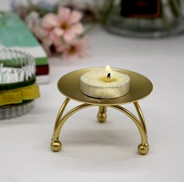 Airline Lights Australia - 2019 table decorative ornaments crafts gold single mini cupcake stand cupcake metal holder Geometric circular iron tea light pan candlestick