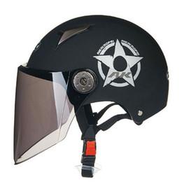 Pilot motorcycle helmets online shopping - Motorcycle Helmet Half Face Summer UV Electric Bicycle Pilot Helmets Stars Brown Long Lens C58