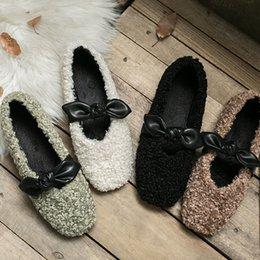 Lamb shoes woman online shopping - Cute Lamb Cashmere Warm Winter Shoes Luxury Flat Fur Square Toes Shoes Retro Style Triple Paris Designer Red Bottoms Women Casual Dress Shoe