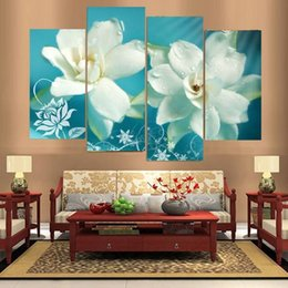 art combinations Australia - 4pcs set Unframed Onepiece White Flower Watery HD Print On Canvas Wall Art Picture For Home and Living Room Decor