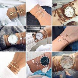 $enCountryForm.capitalKeyWord Australia - HuaTang Bohemian Layered Map Crown Arrow Bracelets Geometirc Gold Leaves Bangle Set Alloy Chain Bangles Bracelet Jewelry