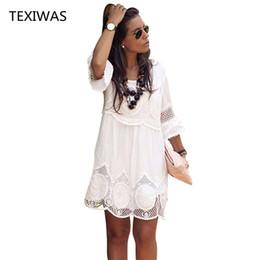 Women plus sizes kimonos online shopping - TEXIWAS Plus Size S XL Women Summer Dress Fashion Half Sleeve Loose Lace Dress White O neck Women Dress