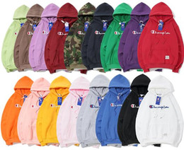 Wholesale 2019 New Long sleeved Seiko version Champ Sweatshirts classic solid embroidery camouflage With cashmere Hoodies