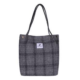 $enCountryForm.capitalKeyWord Australia - 2019 New Hot High Capacity Women Corduroy Tote Ladies Casual Plaid Shoulder Bag Foldable Reusable Shopping Beach Bag