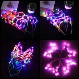Head flasHing ligHt online shopping - Led Light Up Cat Rabbit Ear Head Hoop Glowing Flashing Mulit Color Cartoon Adult Children Hairband Easter Party Supplies ntE1