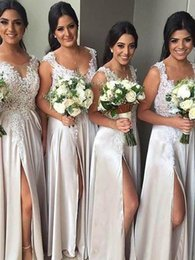 $enCountryForm.capitalKeyWord NZ - 2019 Elegant Sheer Jewel Neck Bridesmaid Dresses White Appliques Lace Side Split Maid Of Honor Wedding Guest Gown For Country Wedding Wear