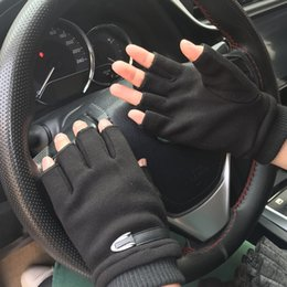 Wholesale couple bicycle online – design Women Men Winter Gloves Fleece Warm Stretch Half Finger Gloves Unisex Couple Fingerless Mittens Outdoor Bicycle Driving Gloves