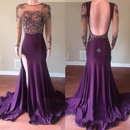 beautiful white long prom dresses 2021 - Beautiful Long Sleeve 2019 Grape Prom Dress Jewel Neck Lace Appliques Beaded Open Back Long Mermaid Evening Gowns With Side Slit
