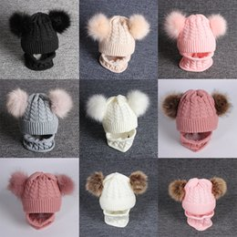 baby thermal sets Australia - Children Unisex Winter Thermal Knitting Wool Hats Scarf Set With Double Racoon Fur Ball Xmas Beanie Baby Kids Caps 2pcs set LA179