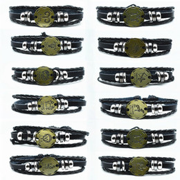Wholesale Adjustable Men Leather Bracelet Cuffs Vintage Punk Constellation Beaded Male Black Wristband Friendship Bracelet for Women Charm Jewelry