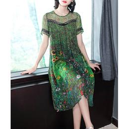 $enCountryForm.capitalKeyWord Australia - high quality Vintage Peacock Green Silk Dress 2019 Floral Print Summer Dresses Plus Size M-3XL Gown Lace Stitching Robes